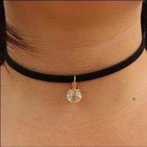 Jewelry - Suede Choker with cz Pendant💞